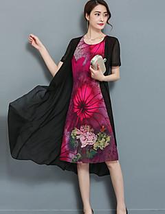 お買い得  レディースドレス-女性用 プラスサイズ お出かけ シフォン ツーピース ドレス - プリント, フラワー ミディ ブルー