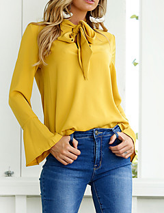 Women's Casual/Daily Cute Sexy Winter Fall Shirt,Solid Round Neck Long Sleeves Cotton Polyester Medium