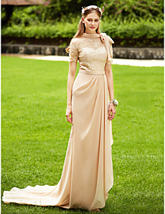 cheap Long Bridesmaid Dresses-Mermaid / Trumpet High Neck Court Train Chiffon Corded Lace Bridesmaid Dress with Bow(s) Lace Sash / Ribbon Pleats by LAN TING BRIDE®