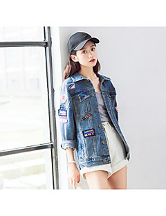 Women's Daily Simple Casual Fall Denim Jacket,Solid Print Shirt Collar Long Sleeve Regular Cotton