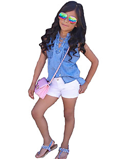 Girls' Solid Clothing Set,Cotton Others Summer Sleeveless Dresswear Blue