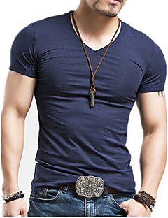 Men's Casual/Daily Chinoiserie T-shirt,Solid Round Neck Short Sleeve Cotton