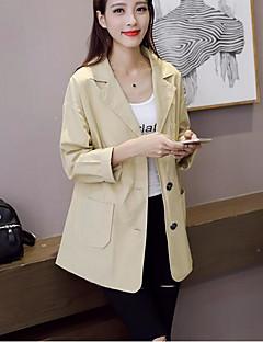 レディース カジュアル/普段着 秋 スーツ,シンプル シャツカラー ソリッド ロング コットン 長袖
