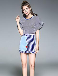 Damen Gestreift Moderne Abschlussball Lässig/Alltäglich Shirt Rock Anzüge,Rundhalsausschnitt Sommer Kurzarm Unelastisch