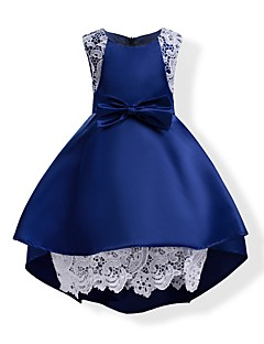 Girl's Solid Dress,Cotton Polyester Summer Sleeveless Bow Blue Blushing Pink