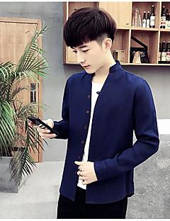 Χαμηλού Κόστους Feel Oriental-Ανδρικά Πουκάμισο Κινεζικό στυλ - Βαμβάκι Λινό Μονόχρωμο