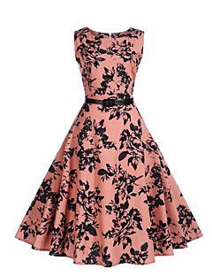 Women's Party Daily Going out Vintage Street chic Sheath Swing Dress,Print Round Neck Knee-length Sleeveless Polyester Summer Mid Rise