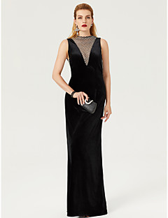 cheap Celebrity Dresses-Sheath / Column High Neck Floor Length Velvet Formal Evening Dress with Lace by TS Couture®