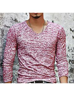 billige Herremote og klær-Tynn V-hals T-skjorte Herre Trykt mønster Grunnleggende
