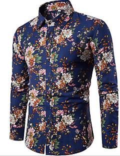 Men's Going out Casual/Daily Vintage Simple All Seasons Shirt,Geometric Print Shirt Collar Long Sleeve Cotton Rayon Medium