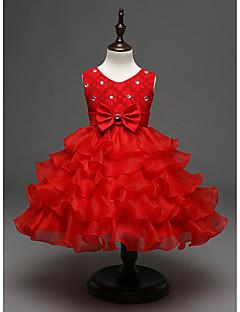 tanie Odzież dla dziewczynek-Sukienka Poliester Dziewczyny Wyjściowe Jendolity kolor Na każdy sezon Bez rękawów