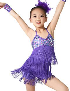 Latin Dansı Kıyafetler Çocuklar için Eğitim Spandeks Süs Pullu Kolsuz Doğal