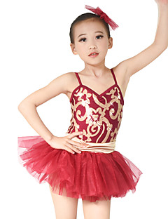 cheap Ballet Dance Wear-Kids' Dancewear Dresses Performance Polyester Tulle Sequined Lycra Tier Paillette Sleeveless Natural Dress Headwear