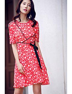 Kadın Dışarı Çıkma Günlük/Sade Sade Sevimli A Şekilli Şifon Elbise Çiçekli,Yarım Kol Yuvarlak Yaka Diz-boyu Diz üstü Polyester TaftaBahar