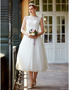 Princess Illusion Neckline Tea Length Lace Tulle Wedding Dress with Buttons Sashes/ Ribbons by LAN TING BRIDE®