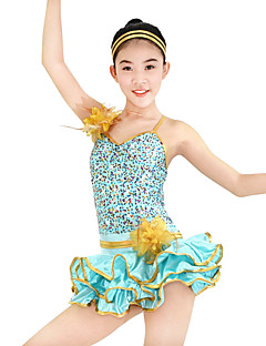 MiDee Jazz Dresses Women's / Children's Performance Spandex / Paillettes / Sequins 2 Pieces Light Green Jazz Sleeveless