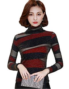 cheap Women's Tops-Women's Cotton Rayon T-shirt Print Turtleneck