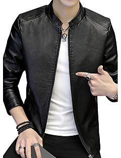 お買い得  メンズジャケット&コート-男性用 クラブ プラスサイズ ジャケット - 保温 ストリートファッション スタイル スタンド ソリッド レザー ファッション, コットン