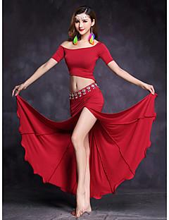 Dança do Ventre Roupa Mulheres Apresentação Modal Frente Dividida 2 Peças Manga Curta Natural Saias Blusas