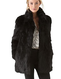 cheap -Women's Daily Simple Casual Winter Fall Fur Coat,Leopard Stand Long Sleeve Long Others