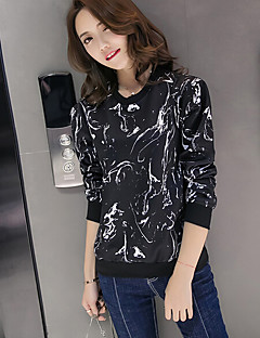 Women's Daily Sweatshirt Print Round Neck Micro-elastic Cotton Long Sleeve Spring
