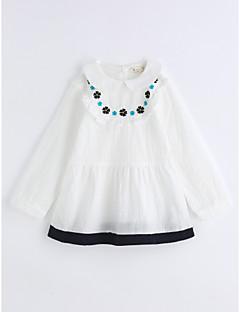 billige Pigetoppe-Pige Skjorte Helfarve Gitter, Bomuld Efterår Langærmet Hvid