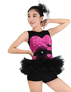 MiDee Kids' Dancewear Dresses Women's Children's Performance Polyester Lace Organza Sequined Lycra Ruffles Flower(s) Sequins Sleeveless Dropped