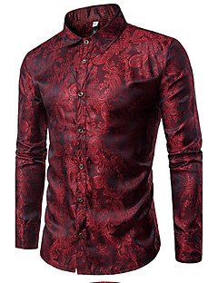 Men's Daily Casual Shirt,Check Stand Long Sleeves Cotton