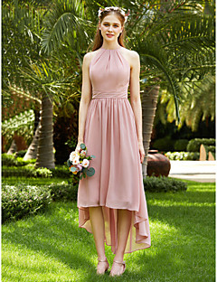 billige Romantisk rosa-A-linje Besmykket Asymmetrisk Chiffon Brudepikekjole med Belte / bånd Plissert Bølgemønster av LAN TING BRIDE®