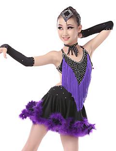 tanie Dziecięca odzież do tańca-Taniec latynoamerykański Suknie Damskie Wydajność Spandeks Pióra Kryształy / kryształy górskie Frędzel Bez rękawów Wysoki Ubierać
