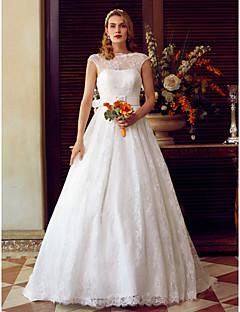 A-Şekilli Illüzyon boyun çizgisi Süpürge / Fırça Kuyruk Dantelalar Kuşaklar / Kurdeleler ile Düğün elbisesi tarafından LAN TING BRIDE®