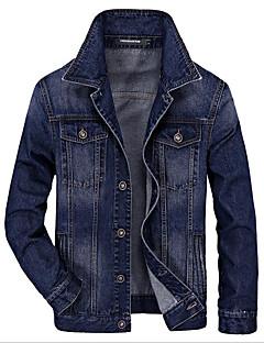 メンズ カジュアル/普段着 春 デニムジャケット,シンプル ピークドラペル ソリッド ショート その他 長袖