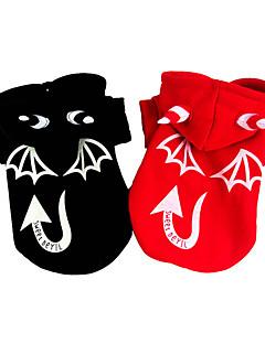 billiga Hundkläder-Hund Dräkter/Kostymer Kappor Hundkläder Halloween Ängel & Djävul Svart Röd