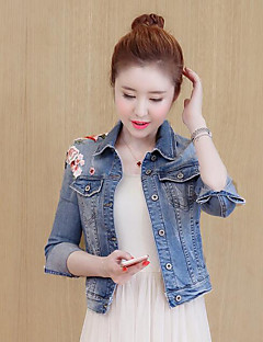 Women's Daily Simple Casual Fall Denim Jacket,Solid Print Shirt Collar Long Sleeve Short Polyester Embroidered