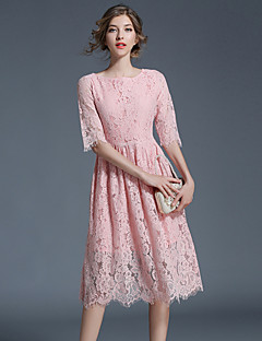 Damen A-Linie Kleid-Party Ausgehen Lässig/Alltäglich Retro Street Schick Anspruchsvoll Patchwork Rundhalsausschnitt Knielang Halbe Ärmel