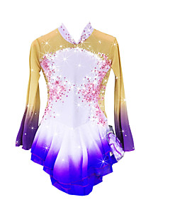 Eiskunstlaufkleid Damen Mädchen Eiskunstlaufkleider Purpur Elasthan Chinlon Hochelastisch Mit Steinen verziert Strass Leistung warm