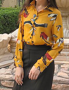 Damen Blumen Einfach Lässig/Alltäglich Hemd,Hemdkragen Langarm Andere
