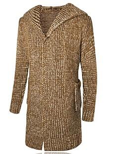 billige Hættetrøjer og sweatshirts til herrer-Herre Langærmet Lang Cardigan - Ensfarvet Hætte / Vælg venligst én størrelse over din normale størrelse.