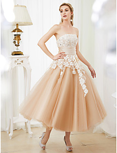 cheap Reception Dresses-Ball Gown Strapless Tea Length Lace Satin Tulle Custom Wedding Dresses with Crystal Detailing Sashes / Ribbons by LAN TING BRIDE®