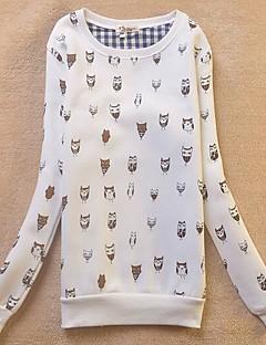 tanie Damskie bluzy z kapturem-Bluzy Damskie Codzienne Urocza Nadruk Okrągły dekolt Średnio elastyczny/a Bawełna Długi rękaw Wiosna
