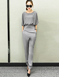 Women's Casual/Daily Simple Solid Round Neck Jumpsuits,Loose Half Sleeves Spring Summer Polyster
