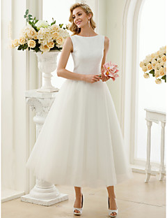 A-Line Princess Bateau Neck Tea Length Sequin Tulle Wedding Dress with Sequins by LAN TING BRIDE®