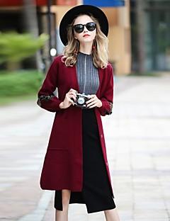 Damen Solide Einfach Party Ausgehen Lässig/Alltäglich Mantel,V-Ausschnitt Herbst Winter Langärmelige Standard Polyester Elasthan Andere