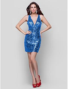 billige Paljettkjoler-Tube / kolonne Stikkende halslinje Kort / mini Paljetter Glitrende Cocktailfest Kjole med Paljett / Plissert av TS Couture®