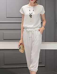 Women's Going out Daily Simple Cute Street chic Spring Summer T-shirt Pant Suits