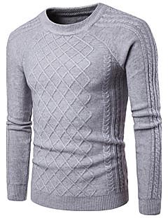tanie Męskie swetry i swetry rozpinane-Męskie Na co dzień Okrągły dekolt Pulower Jendolity kolor Długi rękaw