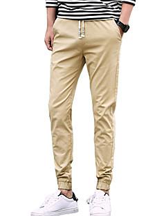 Pánské Jednoduchý Mikro elastické Jogger Kalhoty chinos Kalhoty Štíhlý Mid Rise Jednobarevné