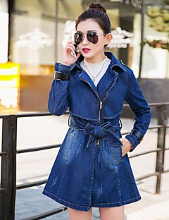 Women's Daily Simple Casual Spring Fall Denim Jacket,Solid Square Neck Long Sleeve Long Cotton