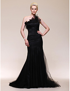 cheap Celebrity Dresses-Mermaid / Trumpet One Shoulder Sweep / Brush Train Tulle Formal Evening Dress with Ruffles Side Draping by TS Couture®