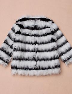 tanie Odzież dla dziewczynek-Kurtka / płaszcz Sztuczne futro Specjalny rodzaj futra Dla dziewczynek Naszywka Zima Długi rękaw White